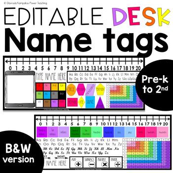 *EDITABLE* Name Tags/Name Plates for Desks + Mini Name Tags