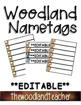 **EDITABLE** Name Tags-Woodland Theme