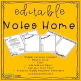 *EDITABLE* Notes Home Pack
