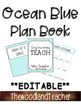 **EDITABLE** Ocean Blue Plan Book Dividers and Forms