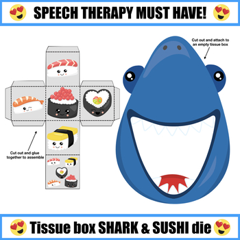"(EDITABLE PDF) Sharks Love Sushi - Articulation Activity for ""SH"""