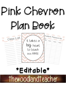 **EDITABLE** Pink Chevron Plan Book Dividers and Forms