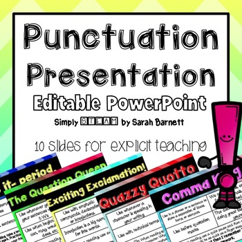 Punctuation PowerPoint {EDITABLE} for Grades 1 - 6