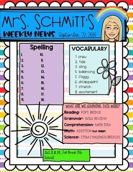 {EDITABLE} Rainbow BITMOJI Classroom Newsletter Template