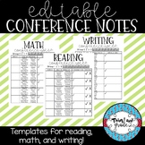 *EDITABLE* Reading, Math, and Writing Conference Notes Template