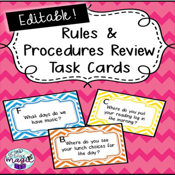 Rule & Procedures Task Cards/Room Scoot *EDITABLE* Fun, engaging, BTS!!