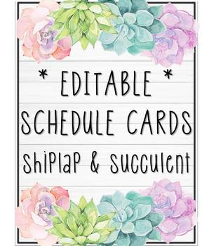 * EDITABLE * Schedule Cards - Shiplap & Succulent
