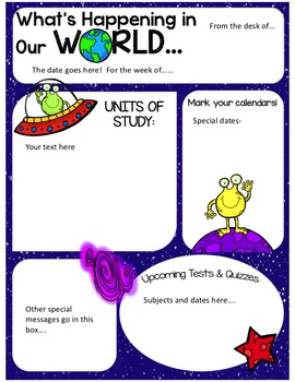 EDITABLE Space Alien Newsletters- FOUR DESIGNS!