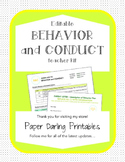 *EDITABLE* Student Behavior Plan Form and Teacher Kit