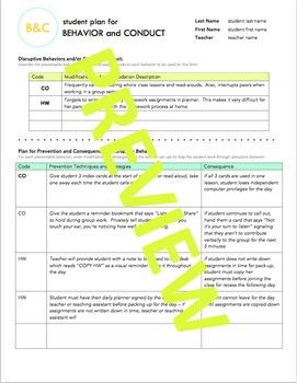 *EDITABLE* Student Behavior Plan Form and Teacher Kit
