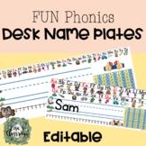 *EDITABLE* Student DESK | Name tag | Plates| with FUN Phonics Alphabet