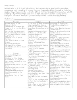 (EDITABLE) Suggested Student Book List for Parents Bundle Levels A-P