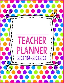 {EDITABLE} Teacher Planner 2017-2018 [Neon Polka Dot]
