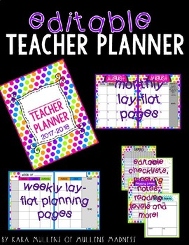 {EDITABLE} Teacher Planner 2018-2019 [Neon Polka Dot]