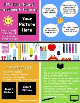 Tutor Flyer Worksheets Teaching Resources Teachers Pay Teachers