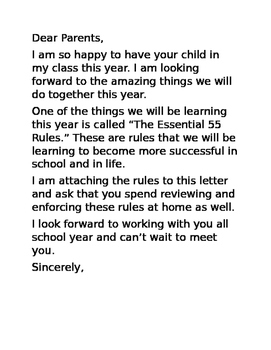 *EDITABLE* The Essential 55 Parent Letter