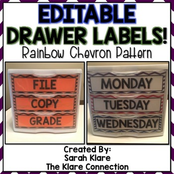 *EDITABLE* Three Drawer Set Labels