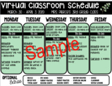 *EDITABLE* Virtual Learning Weekly Schedule Template for S