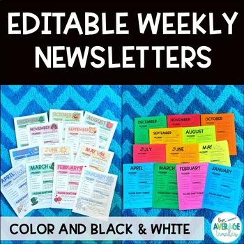 *EDITABLE* Weekly Classroom Newsletter Templates