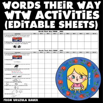 [EDITABLE] Words Their Way daily activities