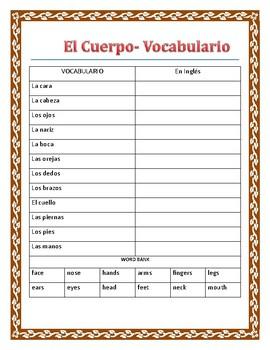 """""""EL Jugador""""- La Ropa y El Cuerpo-""""Superbowl themed"""" - Review Body Parts Spanish"""