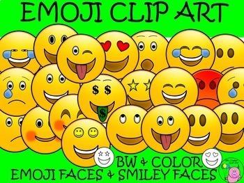 EMOJI CLIP ART *50* Emotion Faces & Smiley Faces! **5 NEW**