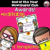 *END OF THE YEAR Newspaper Club Awards! Editable!