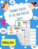 (ENGLISH) Number Posters (0-10) and Practice Sheets