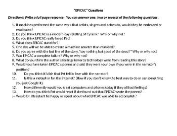 """""""EPICAC"""" by Kurt Vonnegut Questions"""