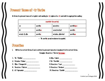 -AR, -ER, and -IR Spanish Verbs Practice with Answer Key