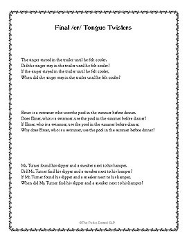 /ER/ Tongue Twisters - an Articulation Carryover Activity