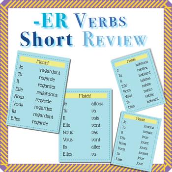 -ER Verbs Review  (travailler,jouer,étudier,aller,regarder,habiter,trouver)