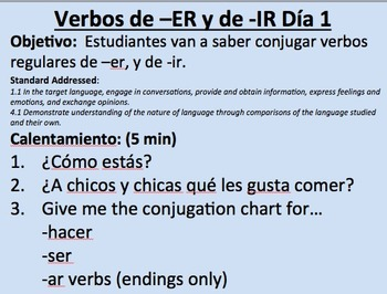 -ER and -IR Verbs in Present Tense Initial Presentation