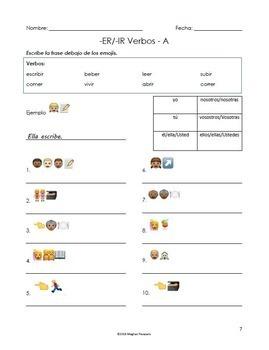 Spanish Verb Conjugation Emoji Puzzle Worksheet (Regular ER and IR)