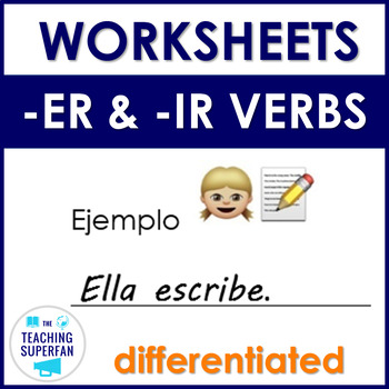 -ER and -IR Verbs Worksheets - Emojis - {Spanish}