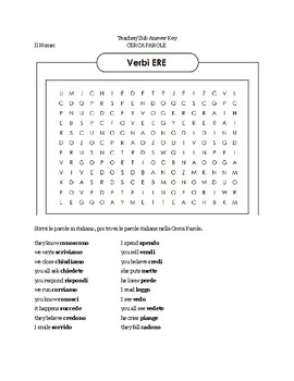 -ERE Verb Word Search (Italian)