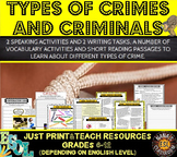 Crime and Criminals ESL Unit Speaking, Reading and Writing Activities