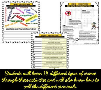 Crime and Criminals ESL/ELL Unit Speaking, Reading and Writing Activities