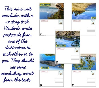 SUMMER HOLIDAYS DESTINATIONS (ESL): Reading and Writing Practice (Postcards)