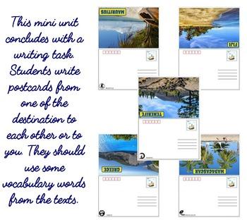 Summer holidays destinations ESL reading and writing activities