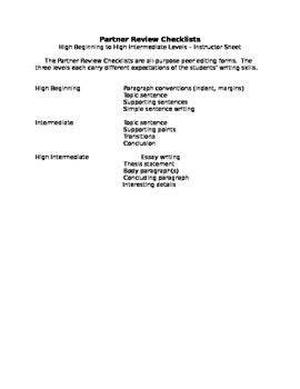 """ESL to Go"" Partner Review Checklists: Peer Editing"