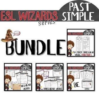"NEW - ""ESL wizards"" BUNDLE – PAST - BE, Regular & irregular verbs + bookmark"