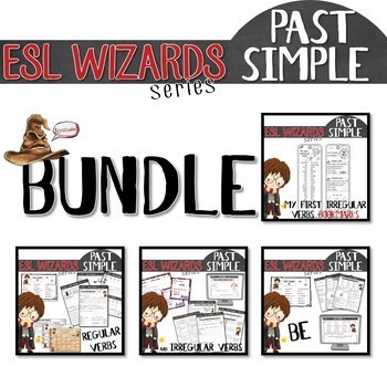 """ESL wizards"" BUNDLE – PAST - BE, Regular & irregular verbs + bookmark"
