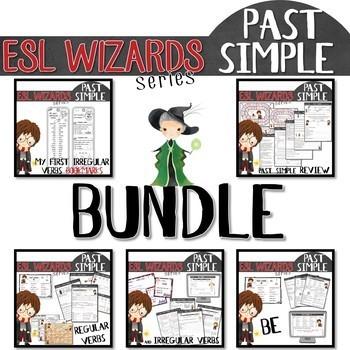 """ESL wizards"" BUNDLE – PAST - BE, reg. & irreg. verbs, review + bookmark"