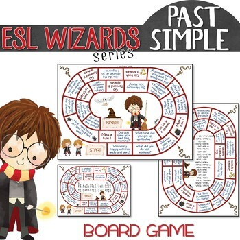 """ESL wizards"" series – PAST SIMPLE REVIEW + game for Harry Potter fans"