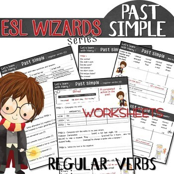 """NEW - """"ESL wizards"""" series – PAST SIMPLE """"Regular verbs"""" for Harry Potter fans!"""
