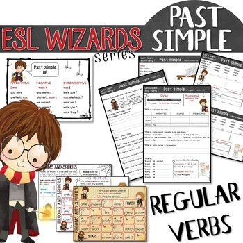 """ESL wizards"" series – PAST SIMPLE ""Regular verbs"" for Harry Potter fans!"