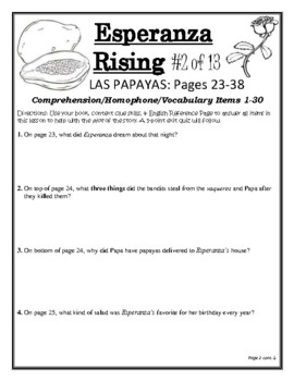 """ESPERANZA RISING"" 120 PAGE COMPREHENSION/ASSESSMENT CCSS NOVEL STUDY UNIT"