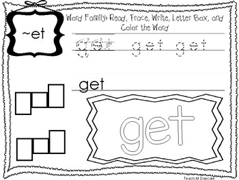 ~ET Word Family Worksheets Worksheets. Preschool-1st Grade Phonics.