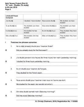 """""""ÉTUDIER"""" - ANSWERS - VERB PROJECT - PDF - PART 1, 2 - AUGUST 9, 2018"""